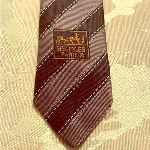 EUC HERMES Authentic classic topstitch striped tie